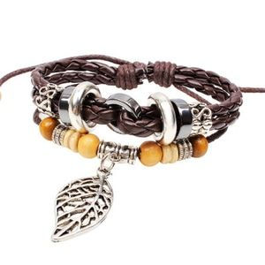 Jewelry - Boho Layered Brown Leather Beaded Leaf Bracelet